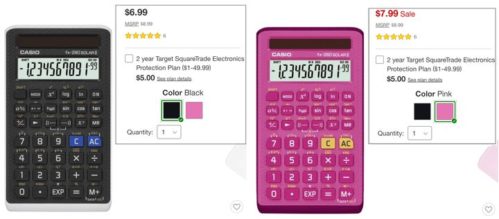 The pink version of this Casio calculator is on sale for $1 more.