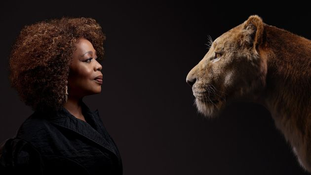 A promotional poster of Alfre Woodard. She plays the role of Simba's mom,