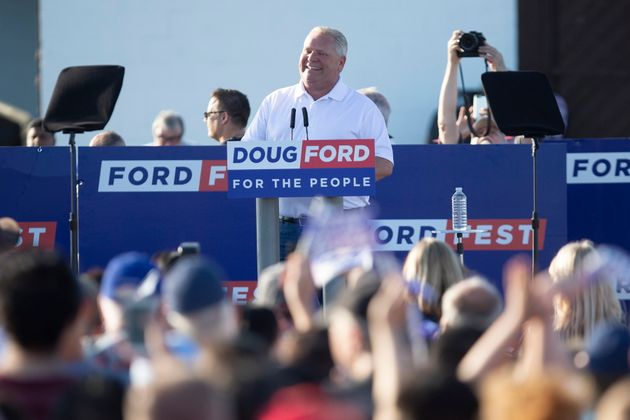 Ontario Premier Doug Ford addresses the crowd during Ford Fest in Markham, Ont., on June 22,