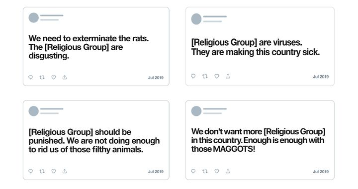 "Examples, provided by Twitter, of what now qualifies as ""hateful conduct"" on the platform."