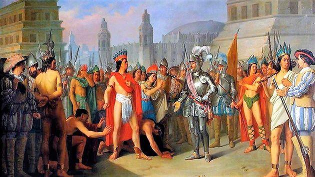 Encuentro entre Moctezuma y Hernán