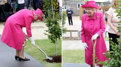 A 93 anni la regina Elisabetta rifiuta l'aiuto e pianta l'albero: