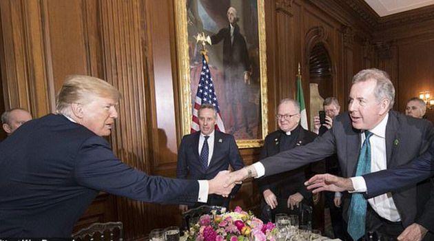 Donald Trump and outgoing ambassador Sir Kim