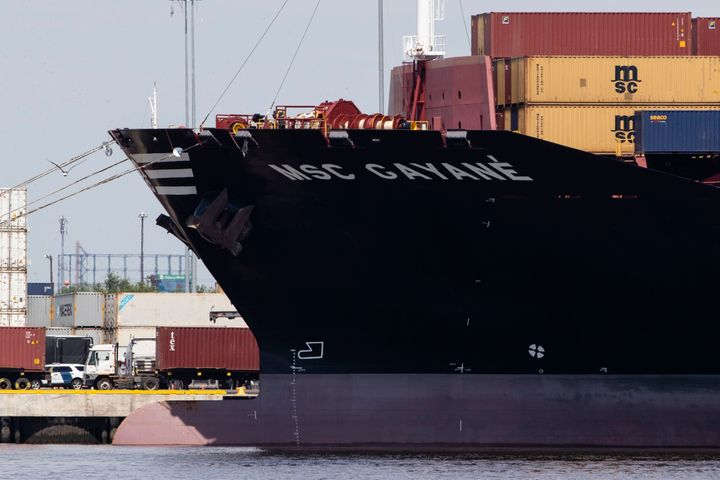 The MSC Gayane is moored at the Packer Marine Terminal in Philadelphia on June 24 after federal prosecutors say $1.3 billion