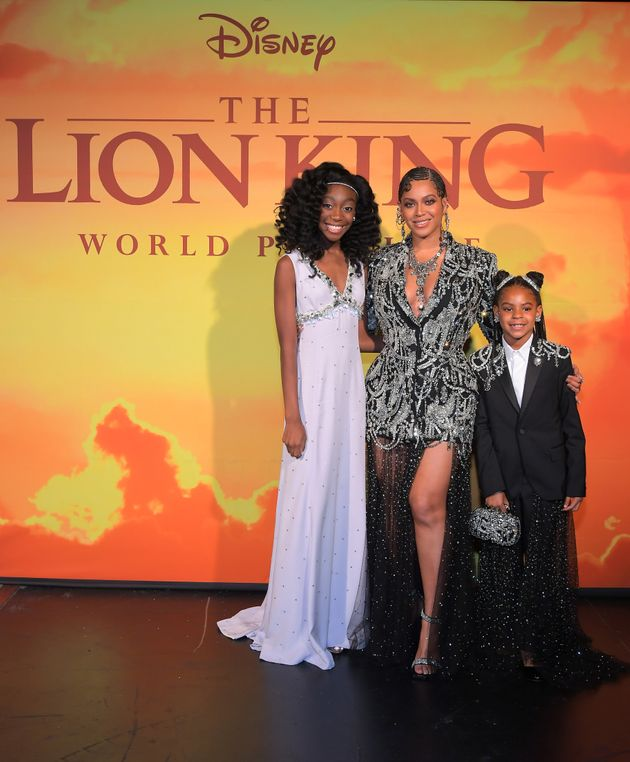 Shahadi Wright Joseph, who voices young Nala, and Beyonce Knowles-Carter, and Blue Ivy