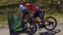 Le Français Tony Gallopin arrêté par un parasol sur la route du