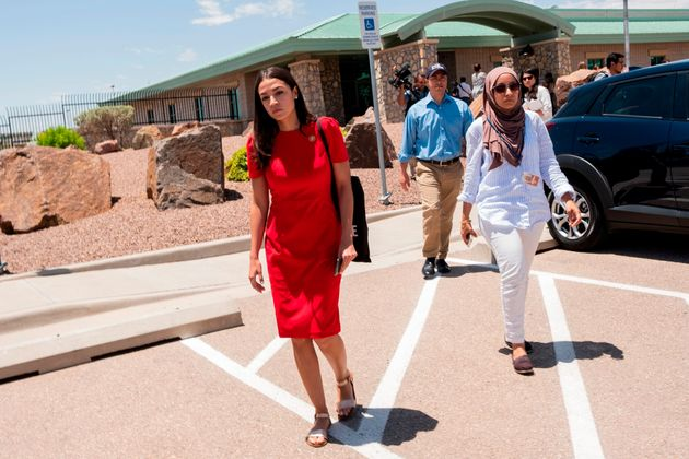 Rep. Alexandria Ocasio-Cortez (D-N.Y.) attends with 14 members of the Congressional Hispanic Caucus a...