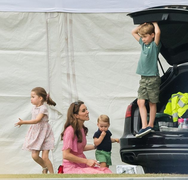 The Duchess of Cambridge with Charlotte, Louis and George (left to right) at the King Power Royal...