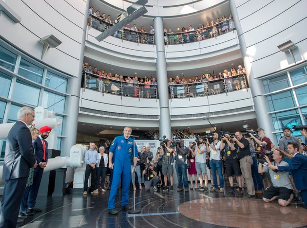 Canadian astronaut David Saint-Jacques arrives at the Canadian Space Agency headquarters in St. Hubert,...
