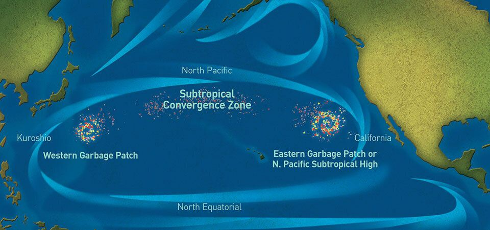 A rendering of the Great Pacific Garbage Patch, which is spread over a massive area of the North Pacific between California a