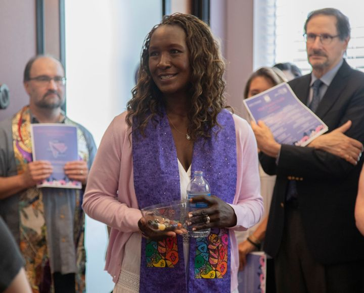 The blessing ceremony, attended primarily by clergy and clinic staff, was organized by the advocacy groups Religious Coalition for Reproductive Choice and Texas Freedom Network, and by Whole Woman's Health, a nationwide network of abortion care centers.