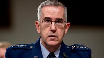 FILE - In this April 11, 2019, file photo, U.S. Strategic Command Commander Gen. John Hyten testifies before a Senate Armed Services Committee hearing on Capitol Hill in Washington. A senior military officer has accused, Hyten, the Air Force general tapped to be the next vice chairman of the Joint Chiefs of Staff, of sexual misconduct, potentially jeopardizing the nomination as members of Congress raised questions about the allegations and an investigation that found insufficient evidence to charge him. (AP Photo/Andrew Harnik, File)