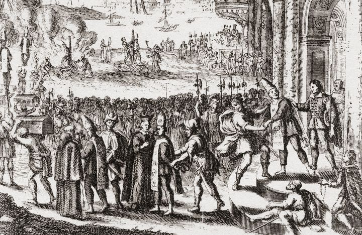 A scene from the Portuguese Inquisition at Goa in the 17th century.