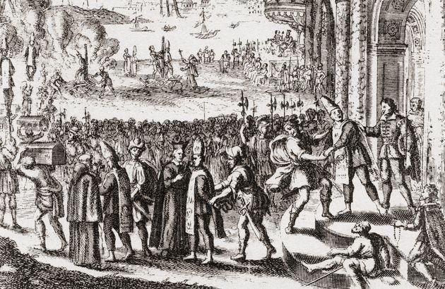 A scene from the Portuguese Inquisition at Goa in the 17th