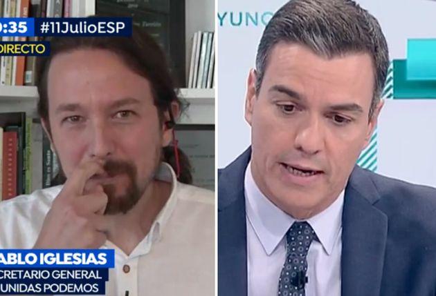 Pablo Iglesias en 'Espejo Público' y Pedro Sánchez en 'Los Desayunos de