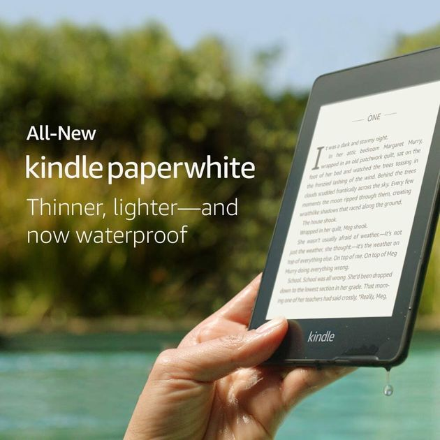 Not only does the new Paperwhite come with built in LED lights, its also waterproof and pretty tough