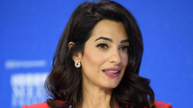 LONDON, ENGLAND - JULY 10: Human rights barrister Amal Clooney speaks during a discussion at the Global Conference on Press Freedom on July 10, 2019 in London, England. The conference sees speakers from around the world sharing their experiences and thoughts on protecting the rights of members of the media around the world. (Photo by Leon Neal/Getty Images)