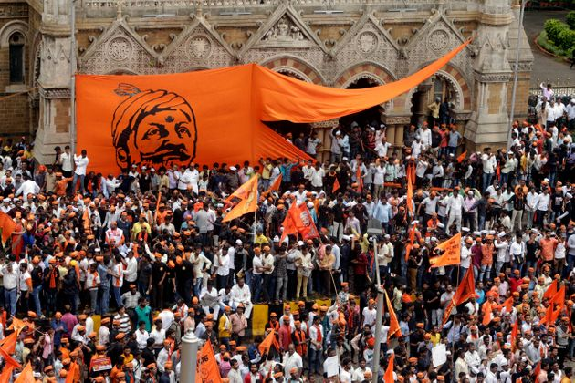 Members of Maratha Kranti Morcha, or Maratha Revolutionary Front take out a silent march in Mumbai in