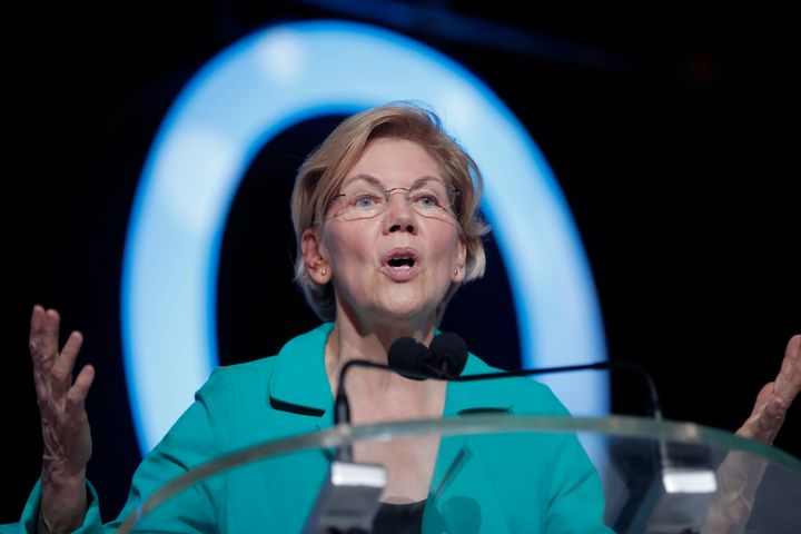 Democratic presidential candidate Sen. Elizabeth Warren (D-Mass.) speaks at the 25th Essence Festival in New Orleans, July 6,