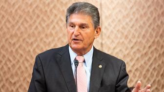 """WASHINGTON, D C , UNITED STATES - 2019/06/27: U.S. Senator Joe Manchin (D-WV) speaking at a press conference sponsored by the Problem Solvers Caucus and the Common Sense Coalition to announce """"principles for legislation to lower prescription drug prices"""" at the US Capitol in Washington, DC. (Photo by Michael Brochstein/SOPA Images/LightRocket via Getty Images)"""