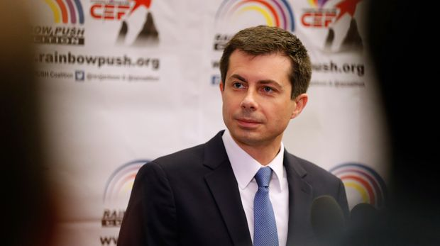 Democratic presidential candidate and South Bend, Ind., Mayor Pete Buttigieg speaks during a news conference at the Rainbow PUSH Coalition Annual International Convention in Chicago, Tuesday, July 2, 2019. (AP Photo/Amr Alfiky)