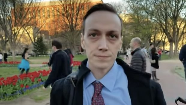Jeffrey Clark in a YouTube video filmed outside the White House during a 2017 Richard Spencer event.