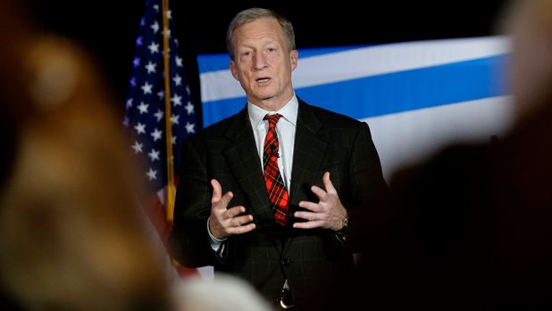 "Billionaire investor and Democratic activist Tom Steyer speaks during a ""Need to Impeach"" town hall event, Wednesday, March 13, 2019, in Agawam, Mass. Steyer claims that President Donald Trump meets the criteria for impeachment. (AP Photo/Steven Senne)"
