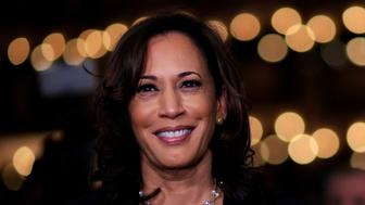 MIAMI, FLORIDA - JUNE 27: Democratic presidential candidate Sen. Kamala Harris (D-CA) speaks during a television interview after the second night of the first Democratic presidential debate on June 27, 2019 in Miami, Florida.  A field of 20 Democratic presidential candidates was split into two groups of 10 for the first debate of the 2020 election, taking place over two nights at Knight Concert Hall of the Adrienne Arsht Center for the Performing Arts of Miami-Dade County, hosted by NBC News, MSNBC, and Telemundo. (Photo by Cliff Hawkins/Getty Images)