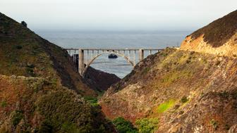 Bixby Bridge passing over Big Sur Canyon on Highway One. (Photo by ANDREW HOLBROOKE/Corbis via Getty Images)