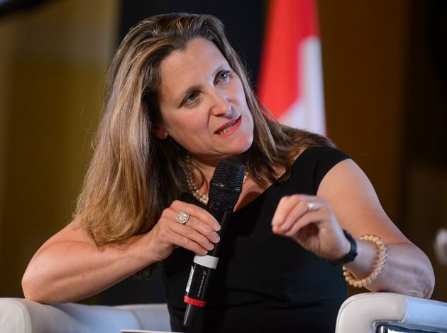 Foreign Affairs Minister Chrystia Freeland speaks at a conference in