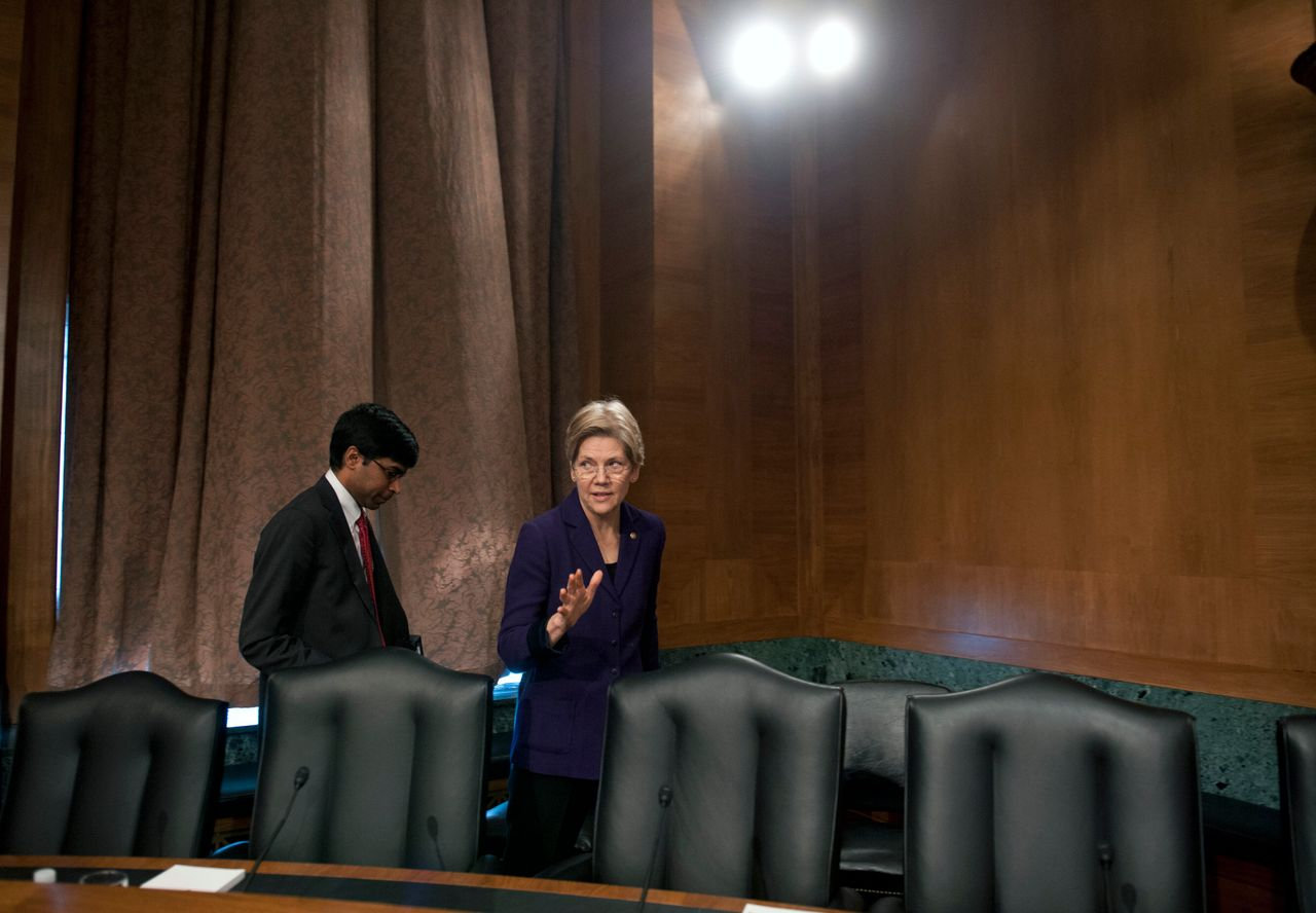 Sen. Elizabeth Warren (D-Mass.) with her former counsel Ganesh Sitaraman in 2013. He's now a professor at Vanderbilt Law School and an outside policy adviser.