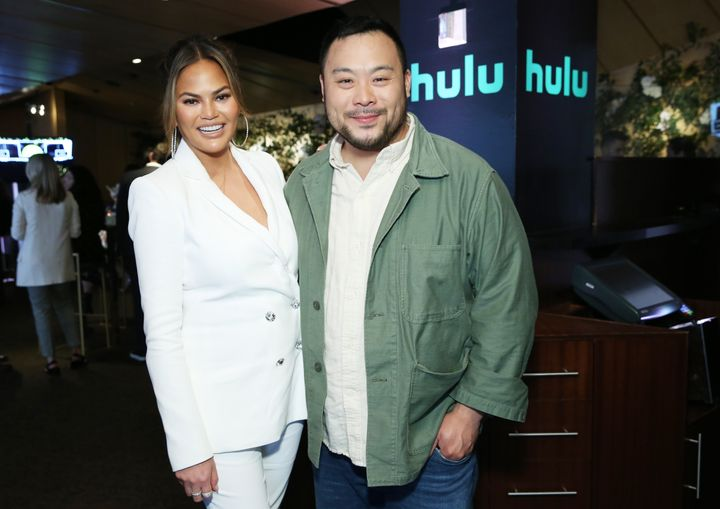 Chrissy Teigen and David Chang pose for a photo during the Hulu '19 Presentation at Hulu Theater on May 1 in New York City.