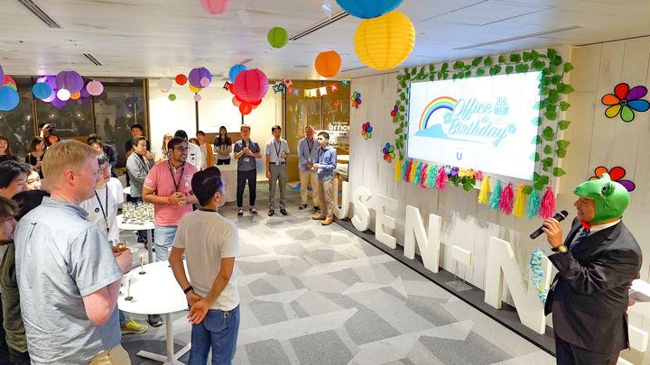 隔月で開かれている誕生日会(OFFICE de Birthday)の様子。6月17日、東京・目黒のUSEN-NEXT GROUP本社