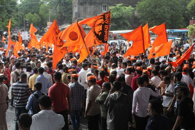 Maratha Kranti Morcha activists protest for reservation in jobs and education in Mumbai in