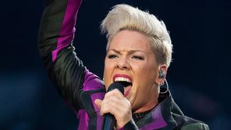 LONDON, ENGLAND - JUNE 29: (EDITORIAL USE ONLY) Pink performs on stage at Wembley Stadium on June 29, 2019 in London, England. (Photo by Jo Hale/Redferns)