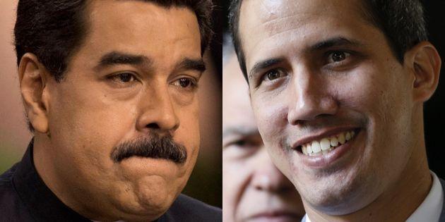 Nicolás Maduro y Juan Guaidó, en sendas imágenes de