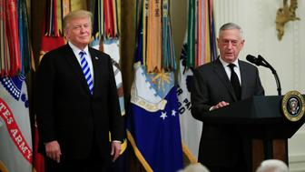 President Donald Trump listens to Defense Secretary Jim Mattis speak at a reception commemorating the 35th anniversary of the attack on Beirut Barracks in the East Room at the White House in Washington, Thursday, Oct. 25, 2018. (AP Photo/Manuel Balce Ceneta)