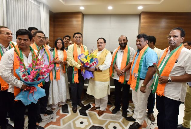 Ten Congress MLAs from Goa join BJP in the presence of BJP Working President Jagat Prakash Nadda and...