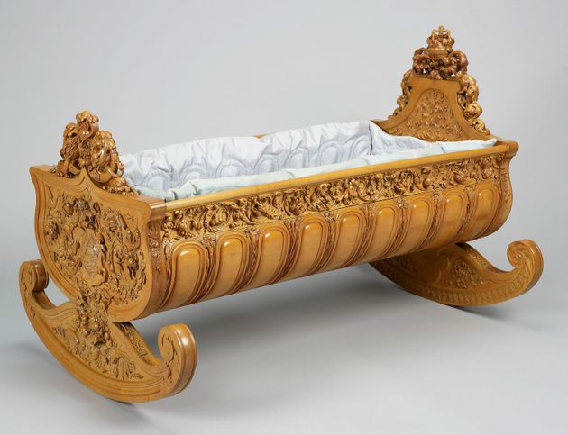 A cradle made of boxwood commissioned by Queen Victoria for her fourth daughter, Princess