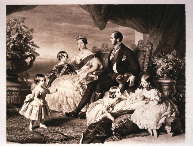 A portrait of Queen Victoria and Prince Albert with five of their