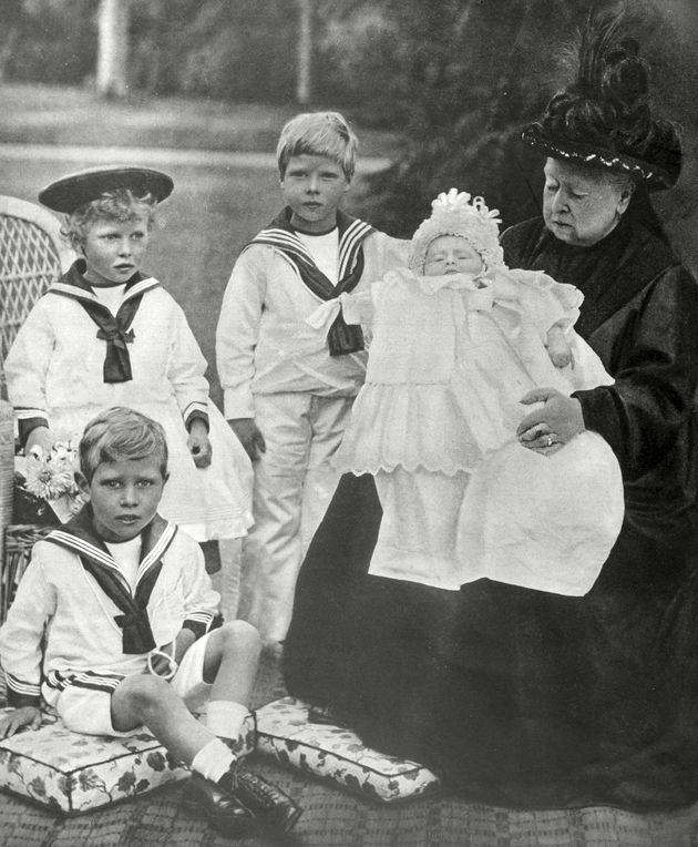 Queen Victoria with some of her great-grandchildren; the Prince of Wales, Duke of Gloucester, the Duke...