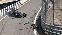 Romain Grosjean a eu un accident... dans la voie des