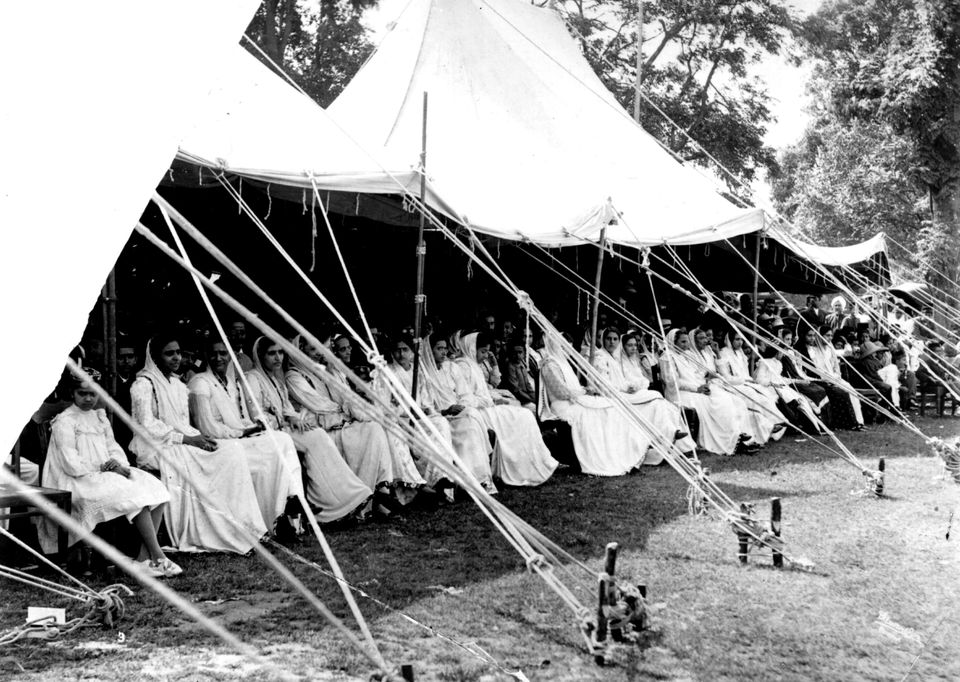 Parsi women watch a cricket match in India, circa