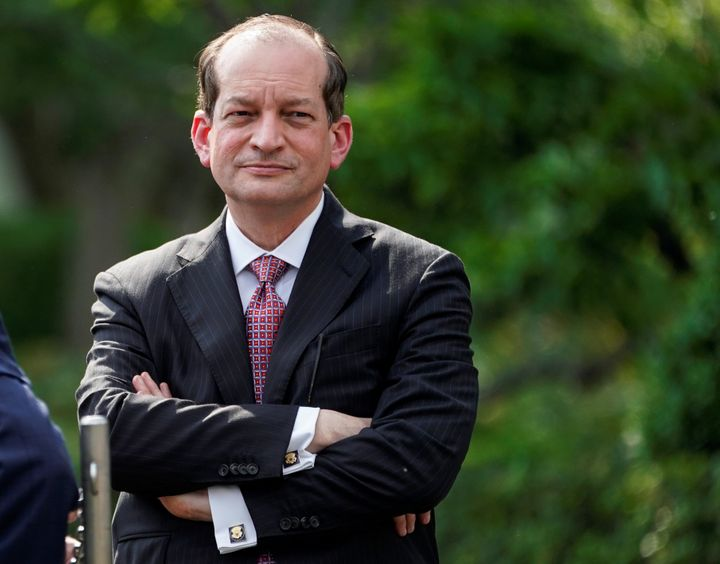 President Donald Trump announced Friday that Alexander Acosta is stepping down as labor secretary.