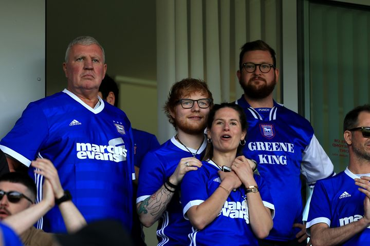 Ed Sheeran and Cherry Seaborn attend a soccer match in Ipswich, England, on April 21, 2018.