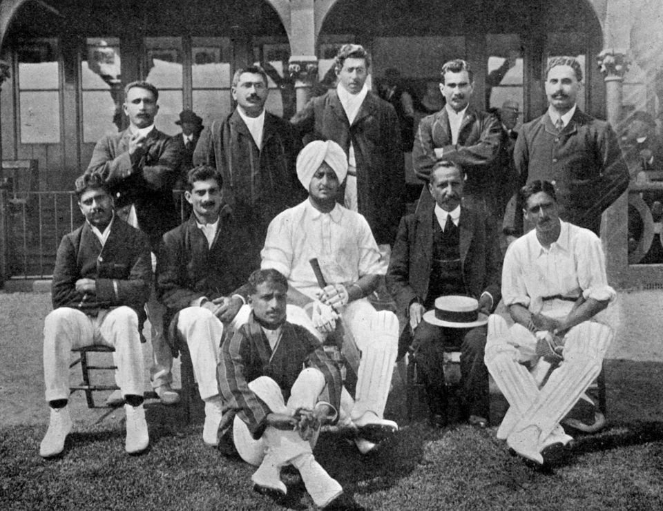 The all-India cricket team of 1911 (1912). From Imperial Cricket, edited by P F Warner and published...
