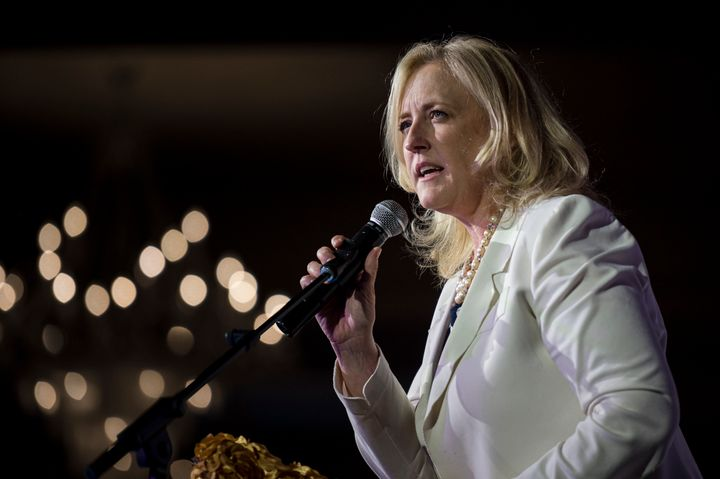 Deputy Leader of the Conservative Party Lisa Raitt delivers remarks to attendees of the Canadian Muslim Vote's Eid Dinner, in Toronto on June 21, 2019.