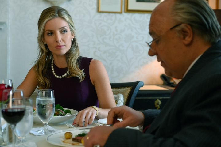"Annabelle Wallis and Russell Crowe in ""The Loudest Voice."""