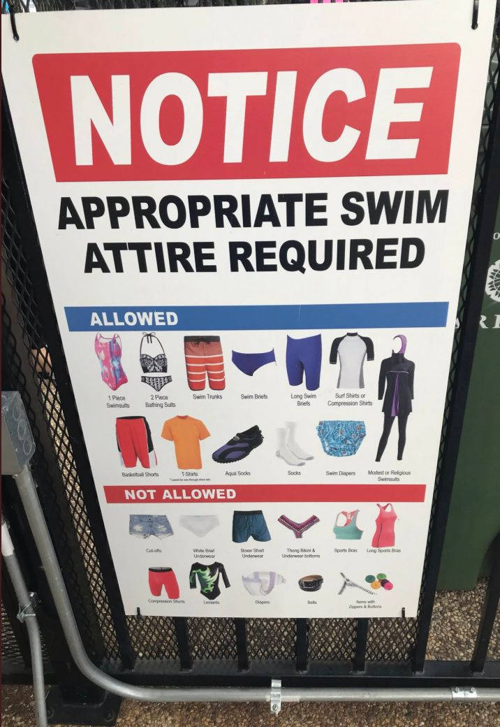 A sign posted by the homeowners association at Yamout's neighborhood pool explicitly includes a picture of a burkini as permi