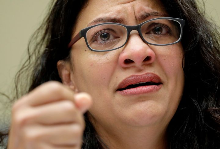 Rep. Rashida Tlaib, D-Mich., Rep. Veronica Escobar, D-Texas, becomes emotional while testifying about on family separation an